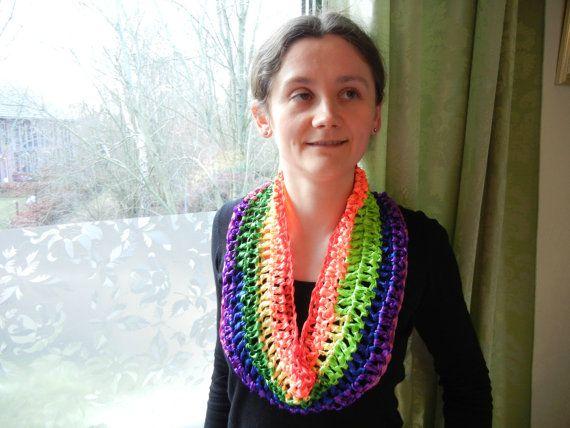 Crochet short rainbow infinity scarf ooak