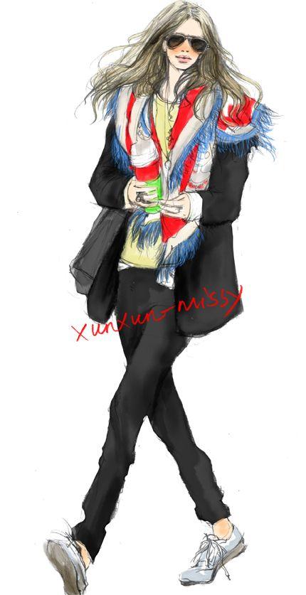 xunxun-missy ζωγραφισμένα χειμερινή μόδα εικονογράφος