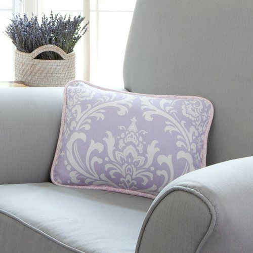 pillow like this in lime for glider.  Lilac and Silver Gray Damask Nursery Decor | Carousel Designs