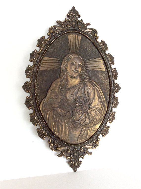 Jesus Sacred Heart. Religious wall plaque. by SouthofFranceFinds