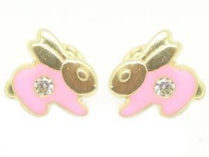 Pink Bunny Screw back Earrings from www.thejewelryvine.com