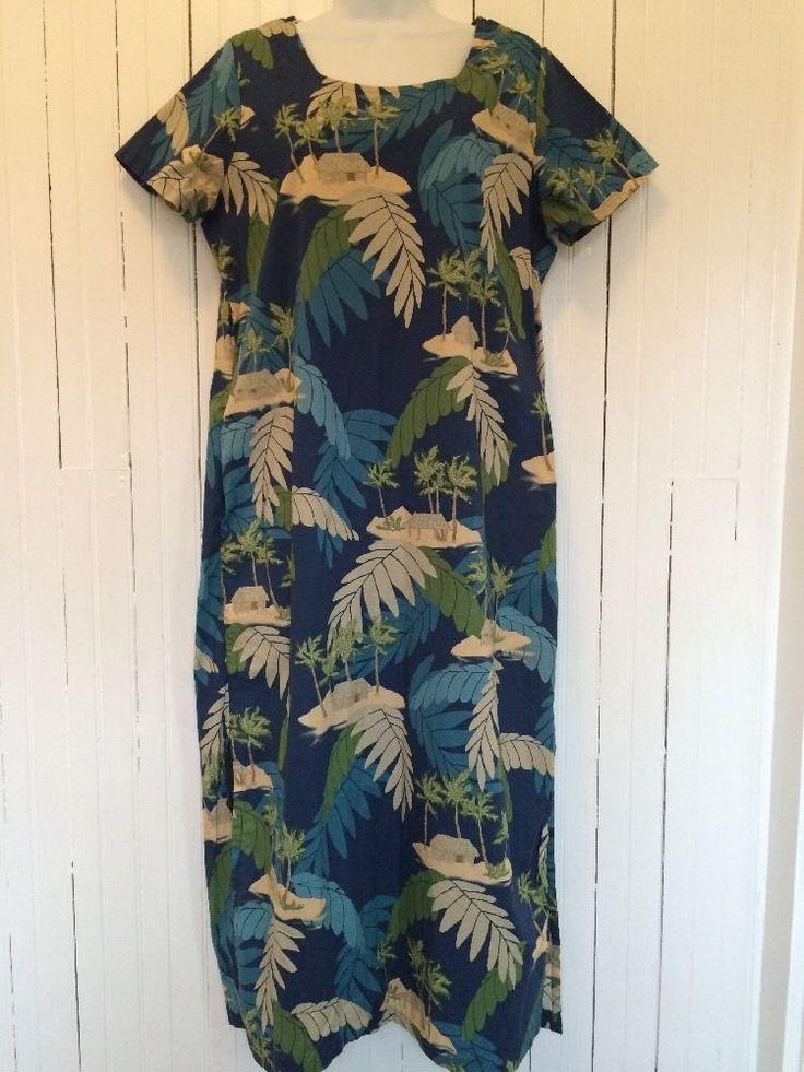 REYN SPOONER DRESS LARGE HAWAIIN TREE HUT PALM ISLAND BLUE CRUISE VACATION EUC #ReynSpooner #Hawaiian