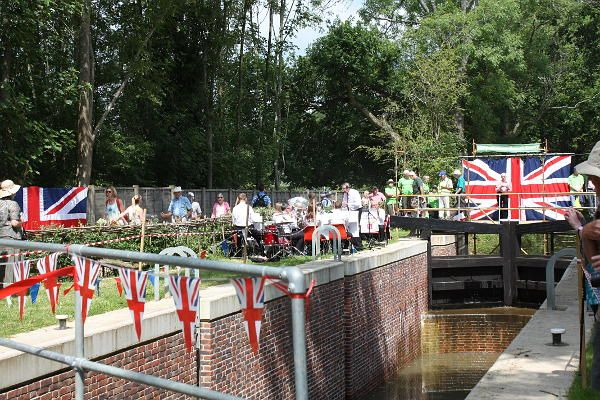 Southland Lock Opening 21st June 2104. Guildford Priory Brass Band at the lock.