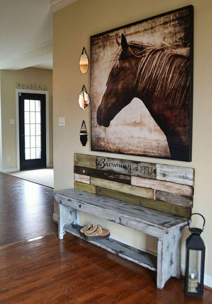 banc de rangement, banquette rustique en bois gris et photo magnifique