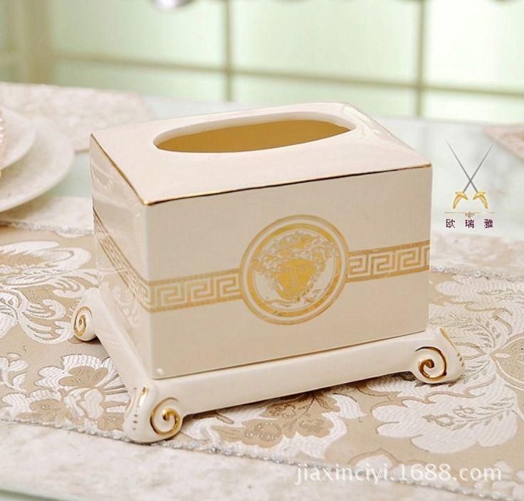 C cor marfim dourado presente de natal de cerâmica caixa de decoração caixa de tecido de decoração solitário(China (Mainland))