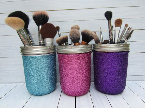This listing is for one, two, or three PINT size glitter mason jars. These will be super cute as makeup brush holders, art supply holders, pen and
