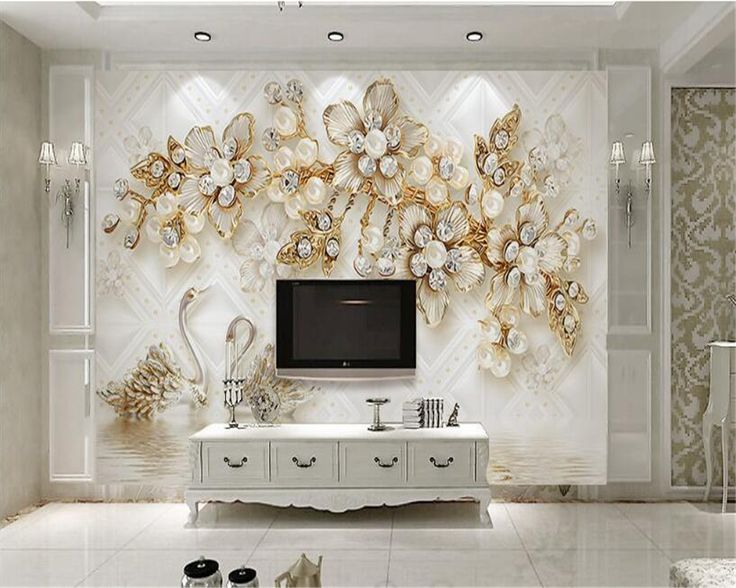 Beibehang 3D Wallpaper 3d Stereo Luxury Swan Flower Soft Bag Jewelry TV Background Wall Decorative Painting mural wallpaper 3d #Affiliate