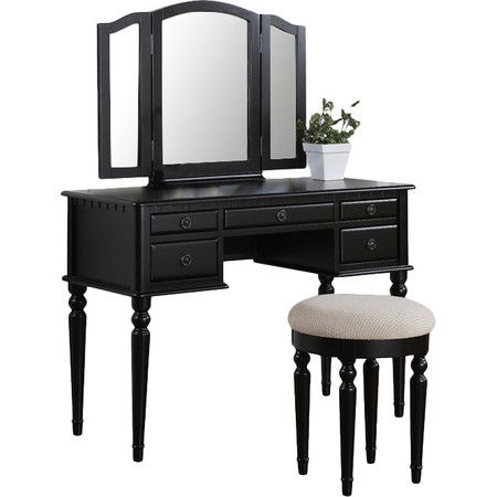 A Charming Addition To Your Master Suite, This Black Vanity Set Features A  Lovely Table