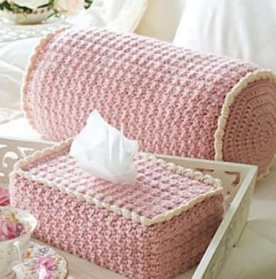 Easy and pretty crochet pattern! Crochet pattern PDF for a beautiful BOLSTER PILLOW and a TISSUE COVER Cozy for a Boutique box of tissues!