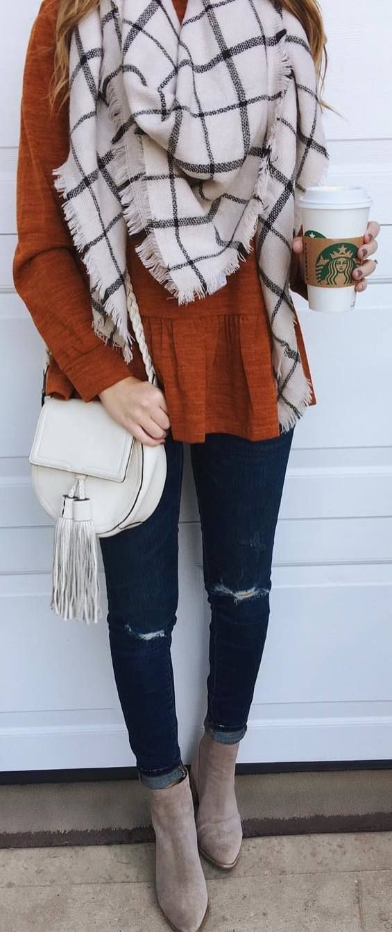 #fall #outfits brown sweater jeans