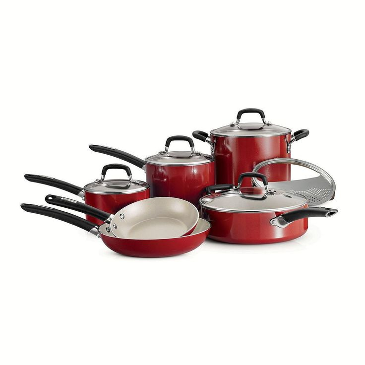 Tramontina 11-Piece Ceramic Cookware Set Cayenne Red Pots Pans Cooking Free Ship #Tramontina