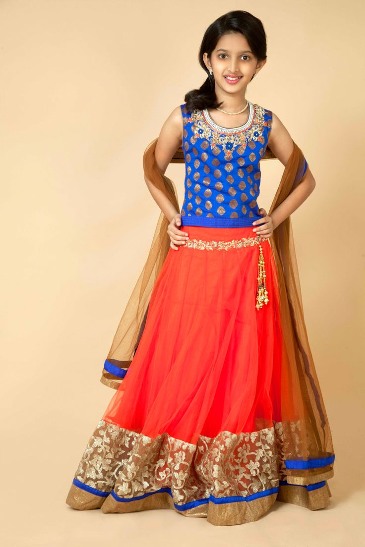 Silk choli with net lehenga embellished with zardozi,resham, stone, moti with lace border.  Item number KG15-25
