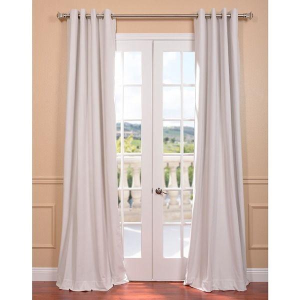 Off White Grommet Velvet Blackout Curtain Panel