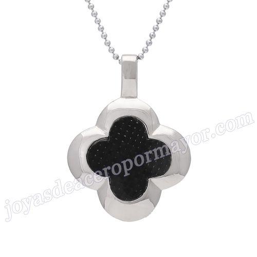 Material:Acero Inoxidable     Nombre: negro onyx colgante en forma de flor con cuatras hojas     Talla: 33*24mm     Weight: 10g     Model No.: SSPT053