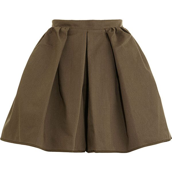 Carven Pleated Short - KAKI size 38 (£90) ❤ liked on Polyvore featuring shorts, skirts, bottoms, suknje, clothing & accessories, women, khaki shorts, pleated khaki shorts, short shorts and short khaki shorts
