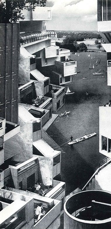Hubert de Cronin Hastings' Civilia: a Modernist Italianate hill town combining elements of Moshe Safdie's Habitat '67 with Venetian canals, improbably situated in Nuneaton (article by Jonathan Glancey).