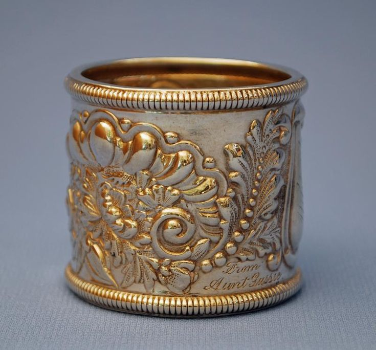 "RP: Antique Silver Napkin Ring - ""Mildred - From Aunt Gussie - 1890"""