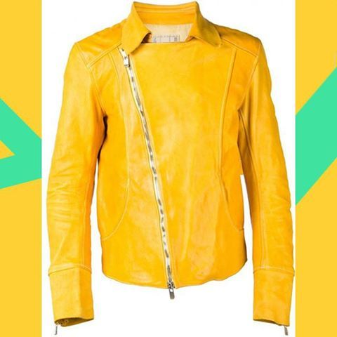 Type CHM CO07T. Not a usual color for Guidi. Nevertheless, this horse leather moto jacket is astonishingly beautiful.  Picture from http://shop.hlorenzo.com  #guidi #guidicommunity #yellow #leatherjacket #motojacket #jacket #avantgarde #handmade #contemporaryfashion #denialofentry