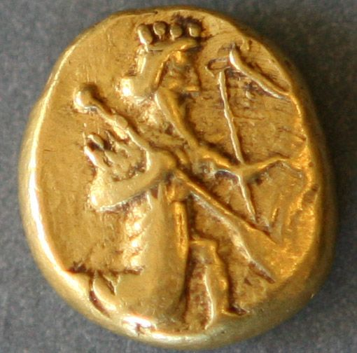 Gold darics such as this one (with a purity of 95.83%) were only issued by the king himself. (c. 490 BCE).