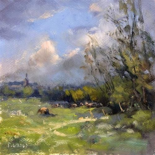 """Daily Paintworks - """"Cows"""" - Original Fine Art for Sale - © Pascal Giroud"""