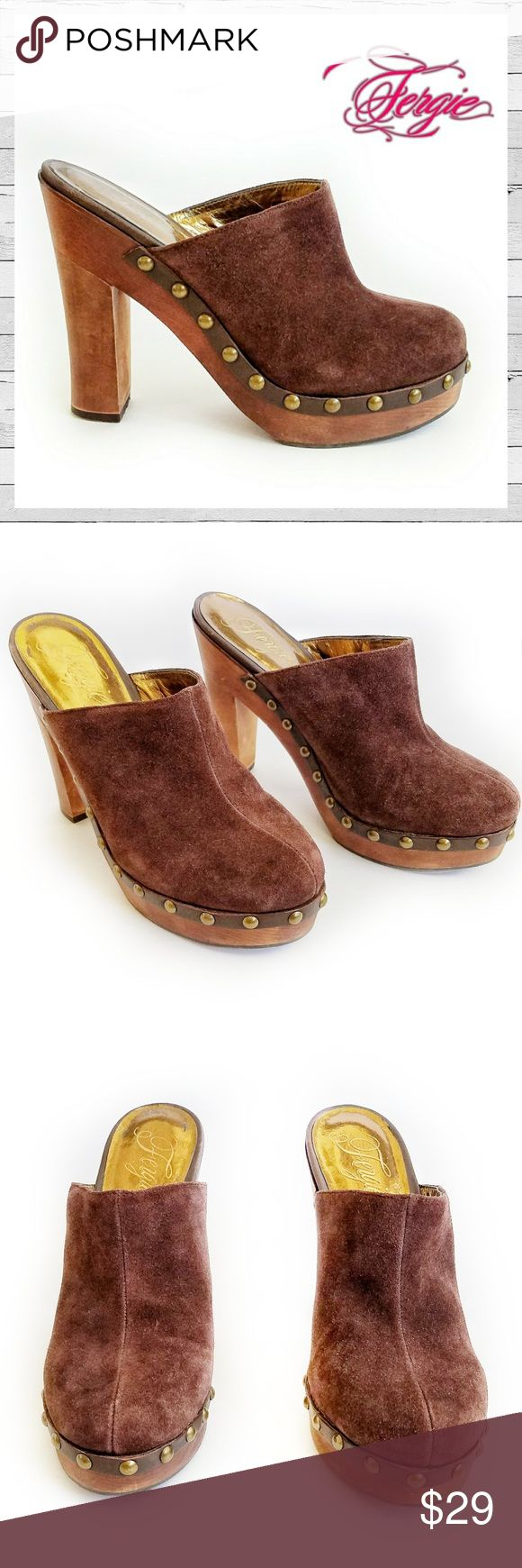 """Fergie Brown Suede 'Krafty"""" Clog Sz 8 1/2 Fergie Brown Suede 'Krafty"""" Clog Sz 8 1/2 in gently loved condition. Show off your chic fashionista style in the Fergie Krafty clogs. Features a leather, suede upper while studded embellishments adorn the base adding interest. Features smooth lining, a cushioning insole, a platform midsole and a traction outsole.  Heel Height: 4 3/4"""" Fit: True to Size Upper: Velour Suede Leather Fergie Shoes Mules & Clogs"""
