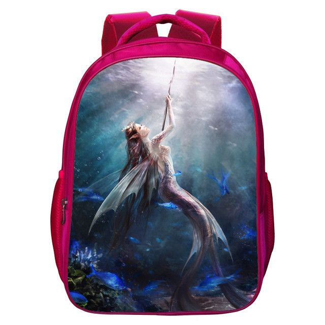 2017 New Style Oxford 16 Inches Printing Cute Mermaid Kids School Bags for Women Bookbag Children Backpack for Teenager Girls