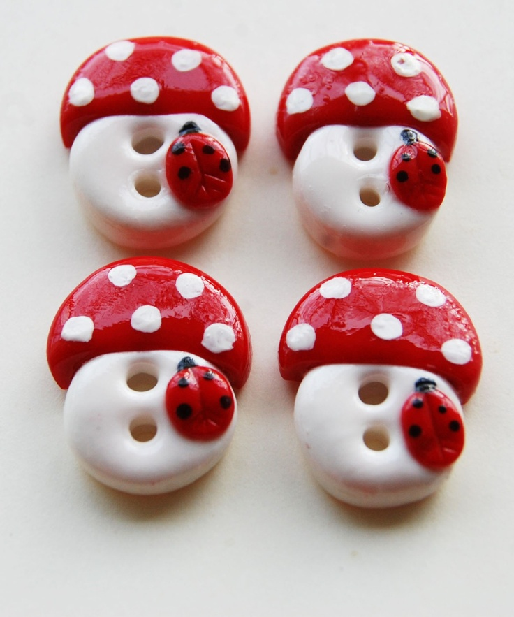 polymer clay handmade mushroom buttons with little lady bugs! OMG TOO CUTE FOR GNOME VESTS!