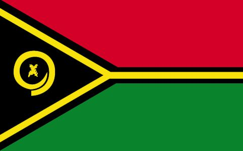 Vanuatu - The flag of Vanuatu was officially adopted on February 18, 1990.  The Vanuatu chain of islands is in the shape of a Y, and the yellow horizontal Y on the flag is representative of same, as well as yellow being symbolic of sunshine; green symbolic of the fertile lands, red symbolic of bloodshed for freedom, and black represents the Melanesian people that originally settled the islands.