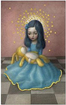 Ansichtkaartje van designer Nicoletta Ceccoli voor La Marelle. Met Alice in Wonderland-prent en gouden glittertjes. Afmetingen 80x128mm.