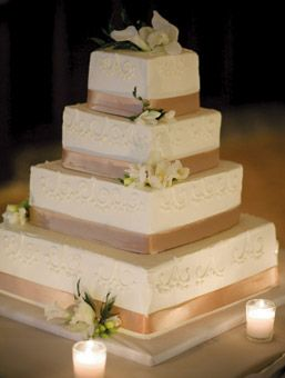 Brides: Meredith and Adam in Chicago, IL : has a vintage look and inspired by the lace dress of the bride. fabulous looking cake