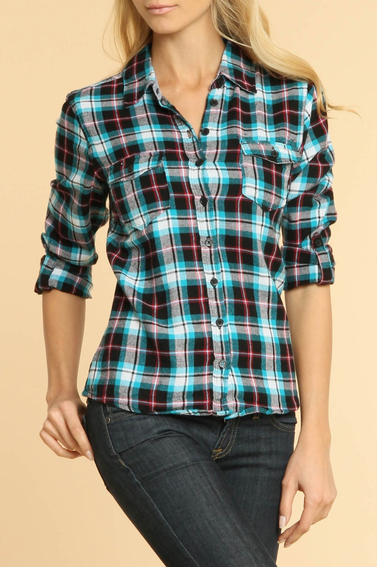 139 best brown and turquoise or teal images on pinterest for Brown and black plaid shirt