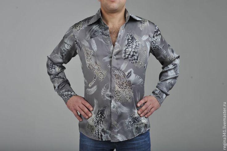 """Купить Мужская шёлковая рубашка """"Salvatore"""" - именная ткань mc queen, рубашка шёлковая купить"""