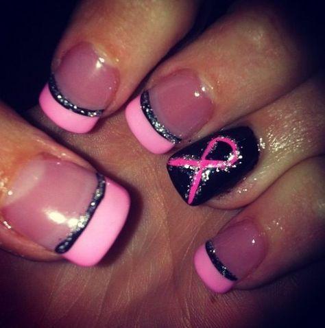 Neue Nägel Acryl rosa Brustkrebs Ideen   – Nails