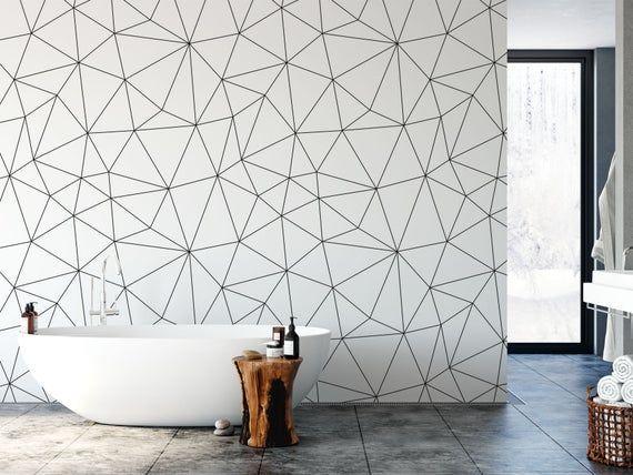 Geometric Removable Wallpaper Bathroom Wallpaper Modern Wallpaper Peel And Stick Wallpaper Geometric Removable Wallpaper Bathroom Wallpaper Modern Wallpaper