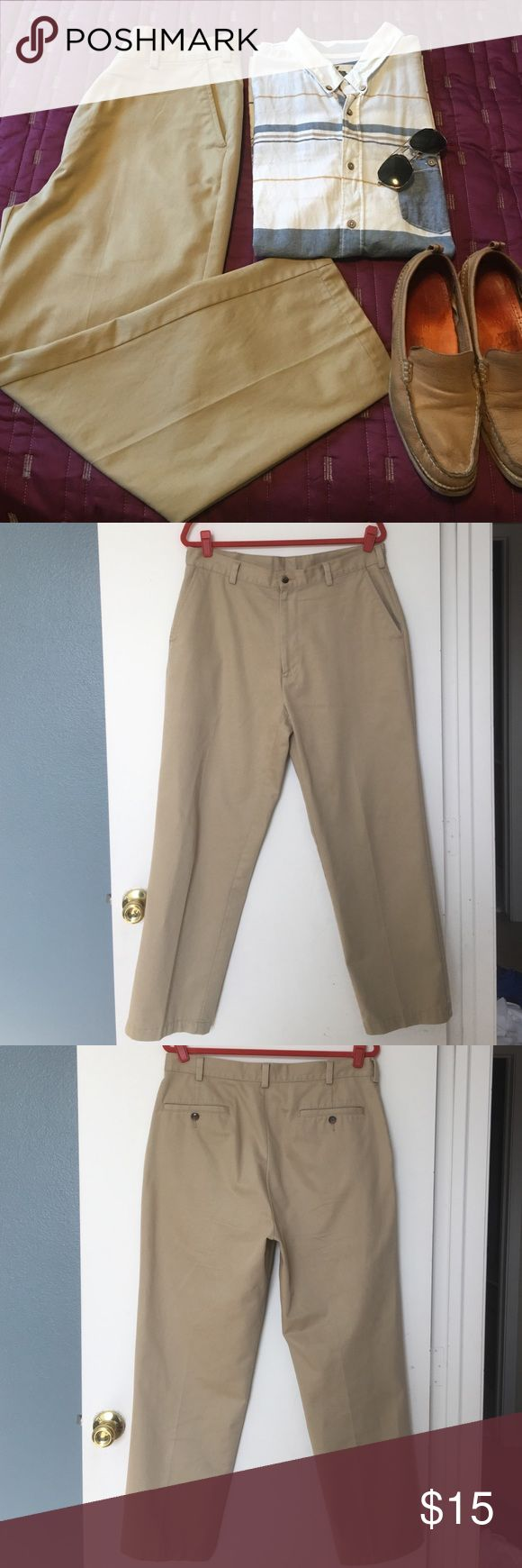 "Jos. A. Bank Men's Khaki Pants 35W X 30L Gently worn men's tan khaki pants. Nice heavy fabric in 100% cotton. Very versatile. Great for work or play or if you are looking to be ""Jake from State Farm"" this Halloween. These are in great used condition. Flat waist 17"" and inseam about 29.5"". Jos A. Bank Pants"