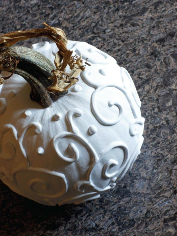 Halloween and Fall Decorating with White Pumpkins ::DIY easy to do with caulk on faux pumpkins
