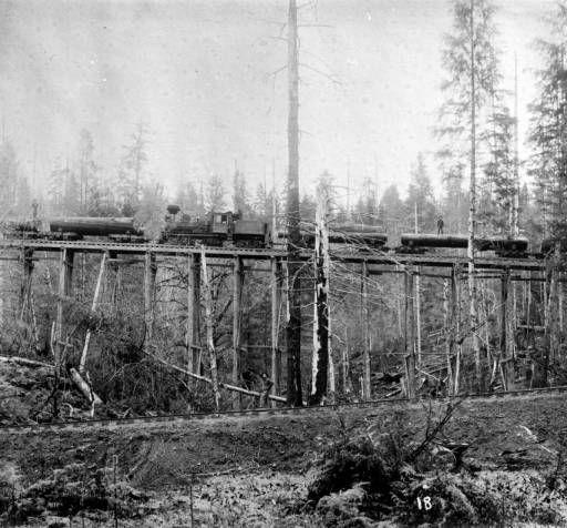 Logging Train on Trestle :: North Olympic Heritage