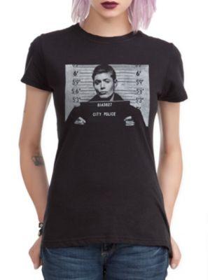 Supernatural Dean Mugshot Girls T-Shirt