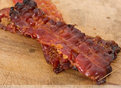 Sticky Pig Candy Stripes - bacon, brown sugar, cayenne pepper. ginger powder /  fun snack for a tailgating party / football party / appetizer / potluck