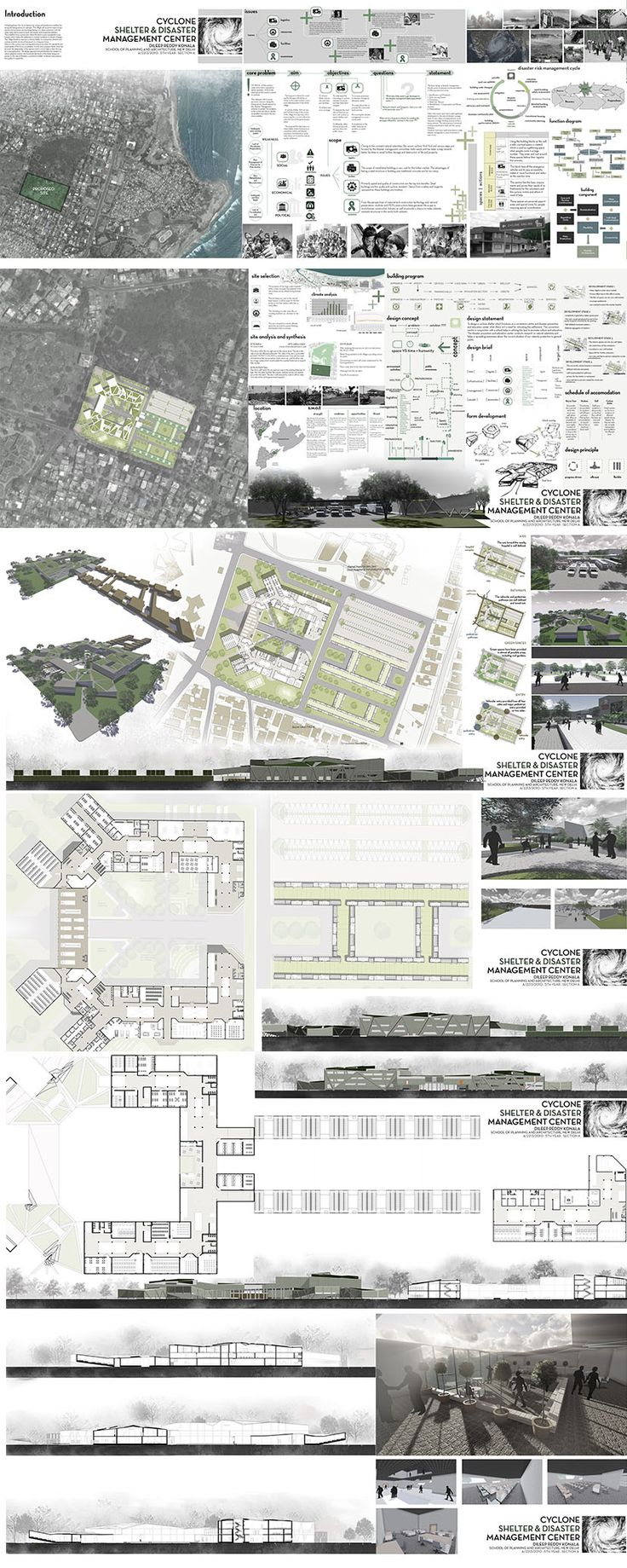 Cyclone shelter and Disaster Management - Part 2. Sem VI A. Sheet composing and Rendering. Thesis design : Dileep Reddy.. Architecture design sheet