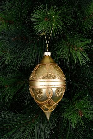 VUE Holiday Opulence Glass Finial with Beading - Gold.
