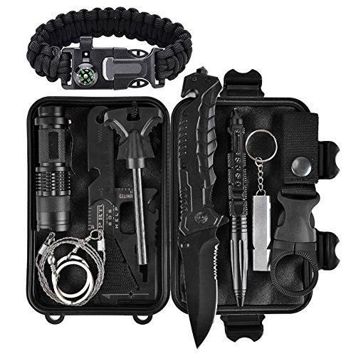 Emergency Survival Kit 11 in 1, Outdoor Survival Gear Tool with Survival Bracelet, Folding Knife, Fire Starter, Whistle, Tactical Pen for Camping, Hiking, Climbing