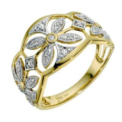9ct yellow gold diamond filigree ring - Ernest Jones