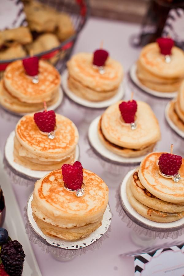 mini pancake stacks embellished with novelty diamond rings for a bridal shower :)