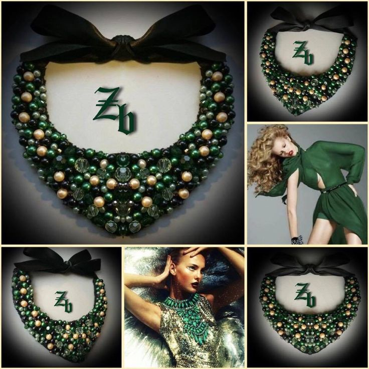 Green&&gold@pearls@crystal z'ett bijou statement necklace