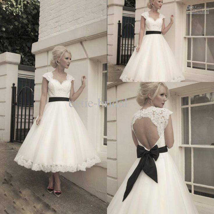 Sweetheart lace capped sleeves hollow back a line tea for Black tea length wedding dress