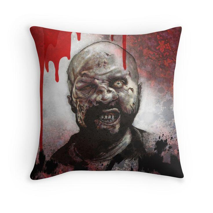 Blood Splatter Zombie pillow from my Red Bubble store #zombie #horror #TheWalkingDead #TWD