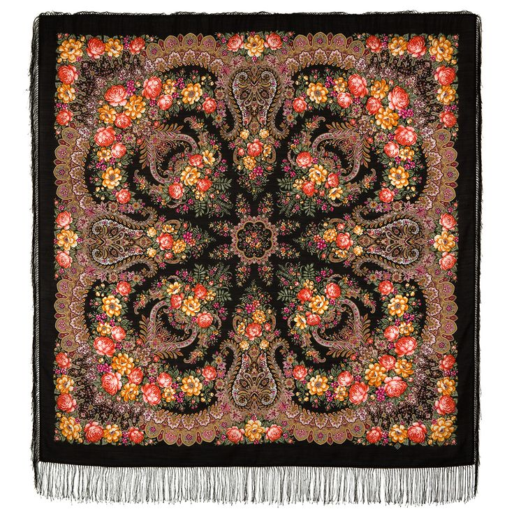 "Russian shawl ""Ladoga 1727-18"". Traditional Russian wool shawl, Pavlovo Posad shawl. Free Shipping. Best price guarantee."