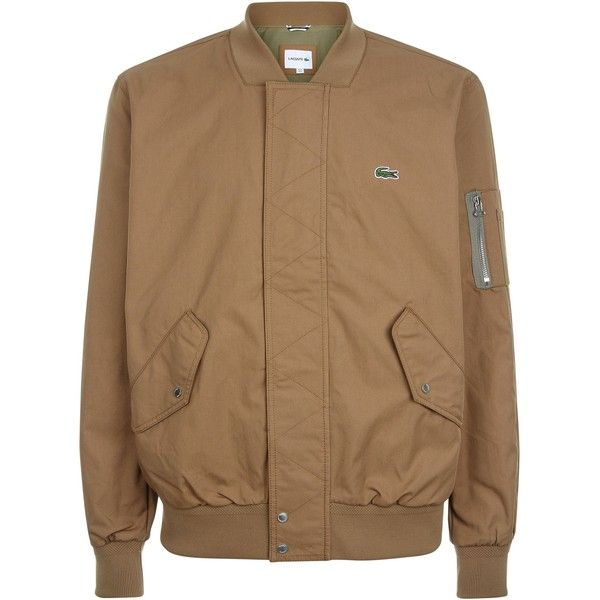 Lacoste Lightweight Texturized Cotton Bomber ($275) ❤ liked on Polyvore featuring men's fashion, men's clothing, men's outerwear, men's jackets, men coats and jackets, mens cotton bomber jacket, mens flight jacket, men's sherpa lined jacket and mens cotton jacket