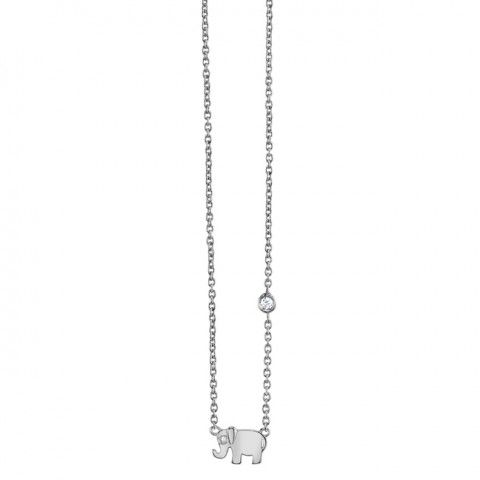 Silver Mini Elephant Charm Necklace $150